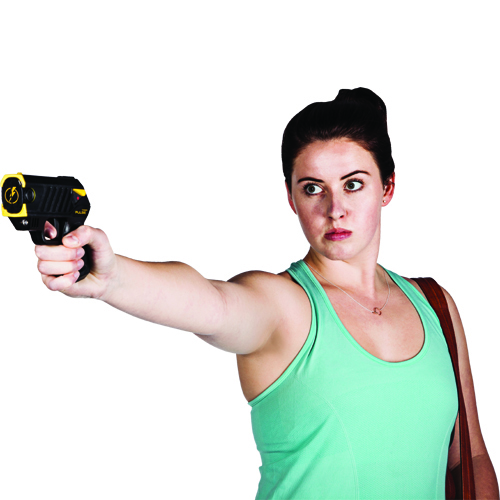 Woman holding ThugBusters Taser Pulse Plus
