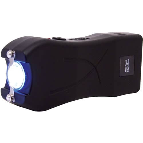 black runt stun gun flashlight side view