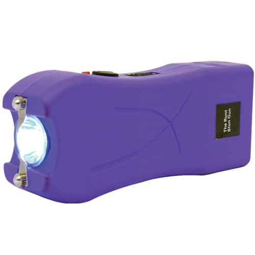 purple runt stun gun flashlight side view