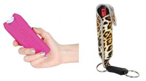 pink stun gun with leatherette pepper spray