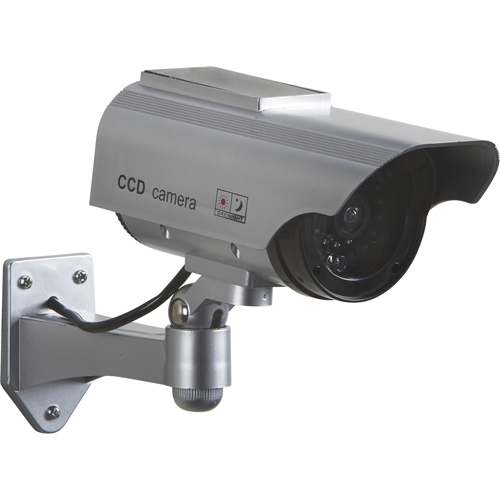 Dummy solar powered security camera with LED