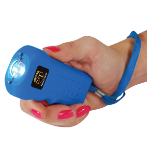 Thugbusters Blue Trigger Stun Gun in womans hand