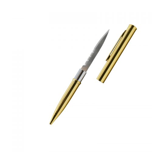 ThugBusters Gold Serrated Edge Pen Knife